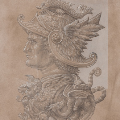 Silverpoint drawing of Darius lll King of the Persia