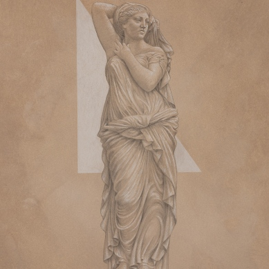 Silverpoint drawing of Karyatides